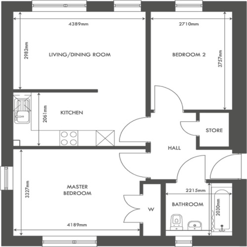 Munro apartment type floorplan