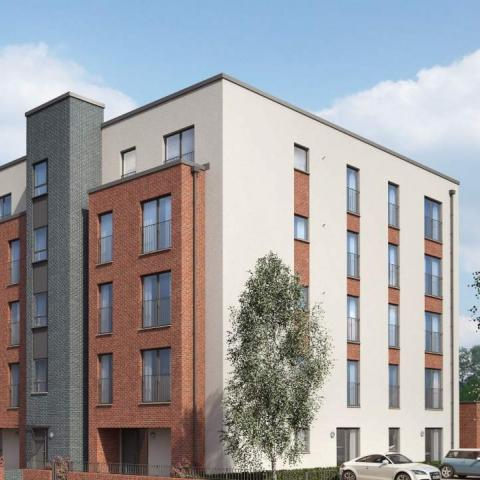 CGI of City West apartment block front exterior
