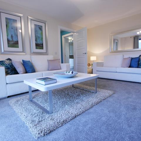 Living room of previous show home at Wester Lea