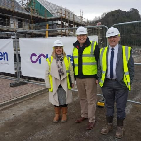 From left to right: Hazel Davies, Cruden Homes sales and marketing director; Gordon Fullarton Cruden Homes head of construction and local MP Stephen Kerr