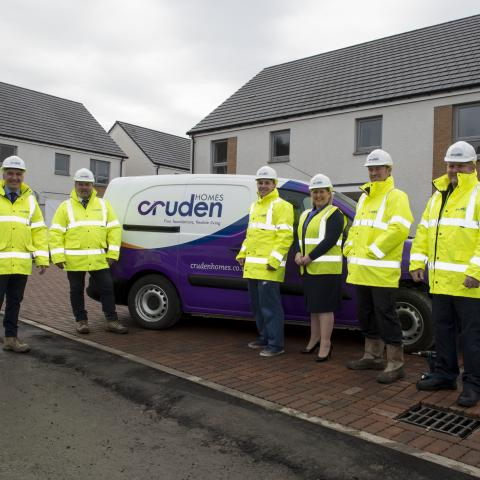 left to right: Iain Hunter, Site Manager; George Bagan, Assistant Site Manager; Craig Stevenson, Painter and Decorator; Audrey Sanders, Sales Adviser; Glen Sancroft, Assistant Site Manager; Stuart Dick, Customer Care Foreman.