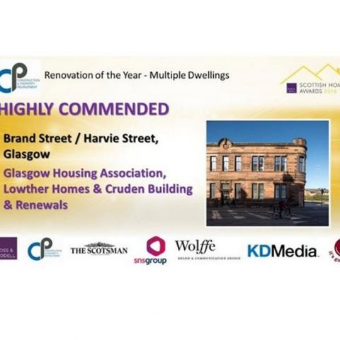 Highly Commended award for Renovation of the Year for Scottish Home Awards 2018.