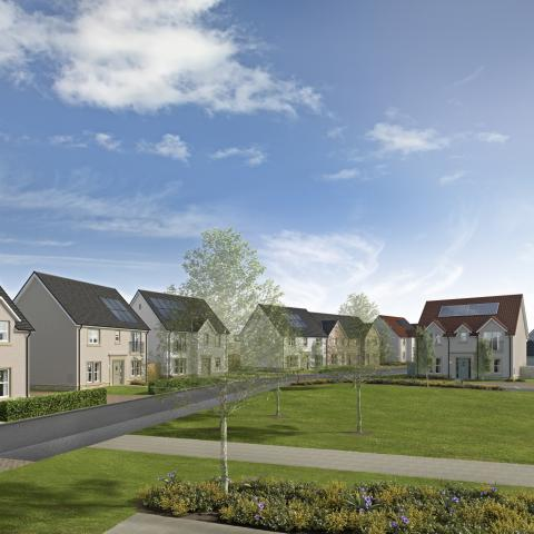 CGI street scene of Meadowside development