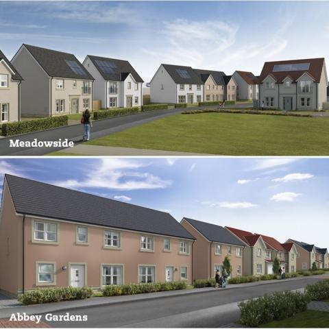 CGI street scenes of Meadowside and Abbey Gardens development
