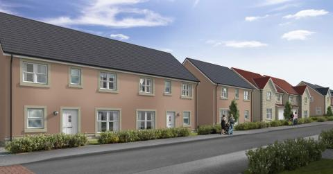 CGI street scene of Abbey Gardens development