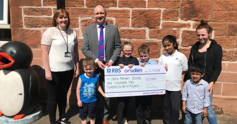 Cheque donation to Ibrox Primary and Nursery School