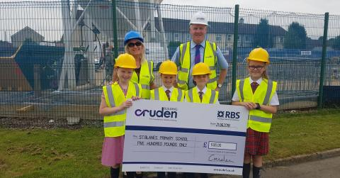 St Blane's Primary School children Ava, Shay, Luke and Eva with Head Teacher Pauline Brown and Thomas McGunnigle from Cruden Building