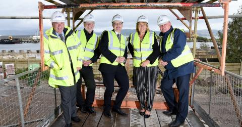 Picture (l – r) Councillor Robert Moran; Kevin Scarlett (Chief Executive, River Clyde Homes), Stuart McMillan MSP, Marilyn Beveridge(Chair, River Clyde Homes), Allan Callaghan, Cruden Building.
