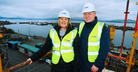 Marilyn Beveridge vice-chair of the River Clyde Homes Board and Allan Callaghan, Managing Director of Cruden Building