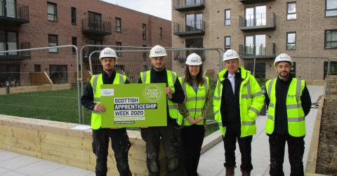 Aileen Campbell MSP to the Ropeworks development to meet apprentices from Hart