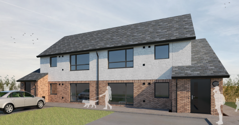 CGI of new affordable housing development in Larkhall