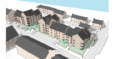 CGI of new affordable housing development in Kirkintilloch